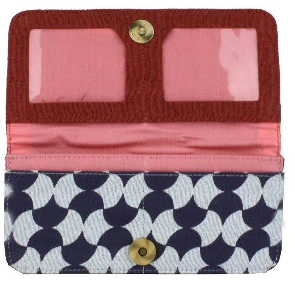 fair trade cotton long wallet with zip pouch and card slots navy and icy blue with pink interior