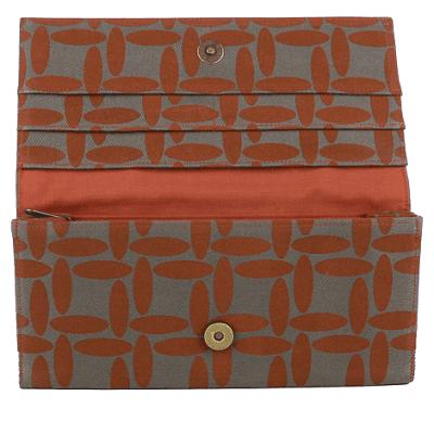 Interior of burnt orange vegan wallet