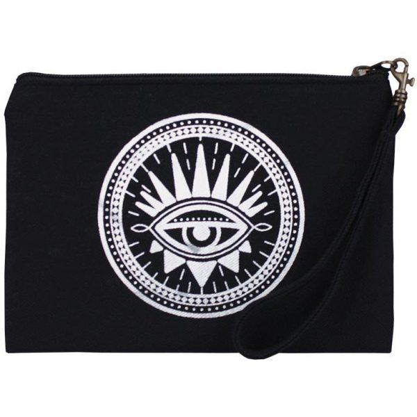 black evil eye wristlet pouch