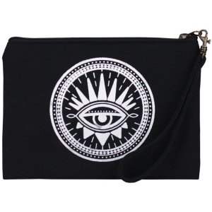 black evil eye wristlet pouch