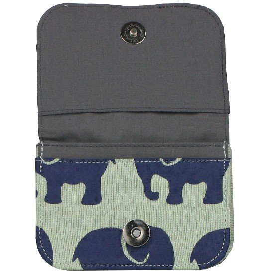 dark grey interior of seafoam elephant card holder