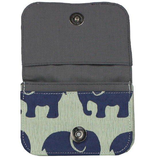 dark grey interior of seafoam elephant card holder