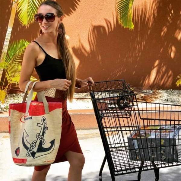 woman with anchor shopping bag