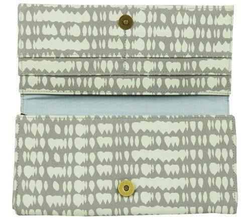 Interior of grey fair trade long wallet