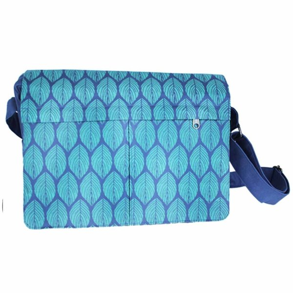 green leaf canvas messenger bag