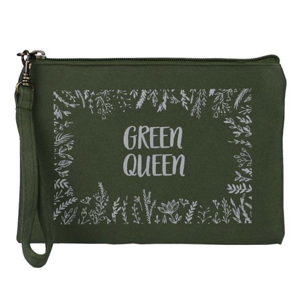 army green queen wristlet pouch
