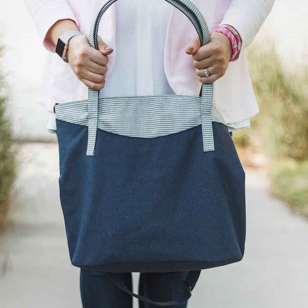 large navy denim tote