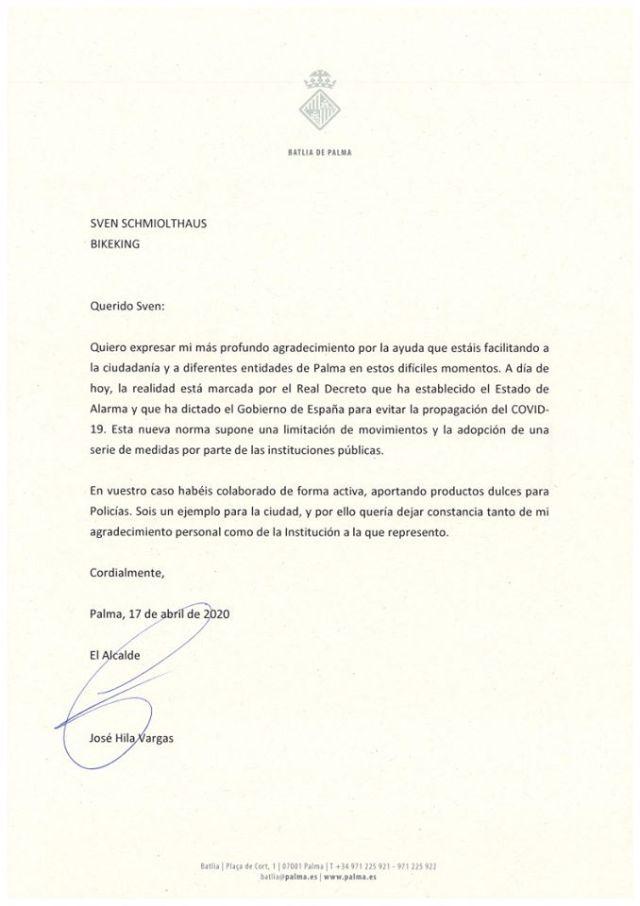 Persönliches Dankesschreiben des Bürgermeister von Palma an Sven Gonzales