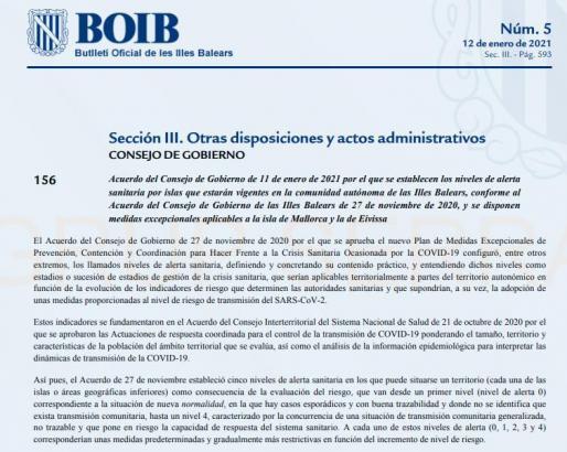 BOIB veröffentlicht die neuen Einschränkungen