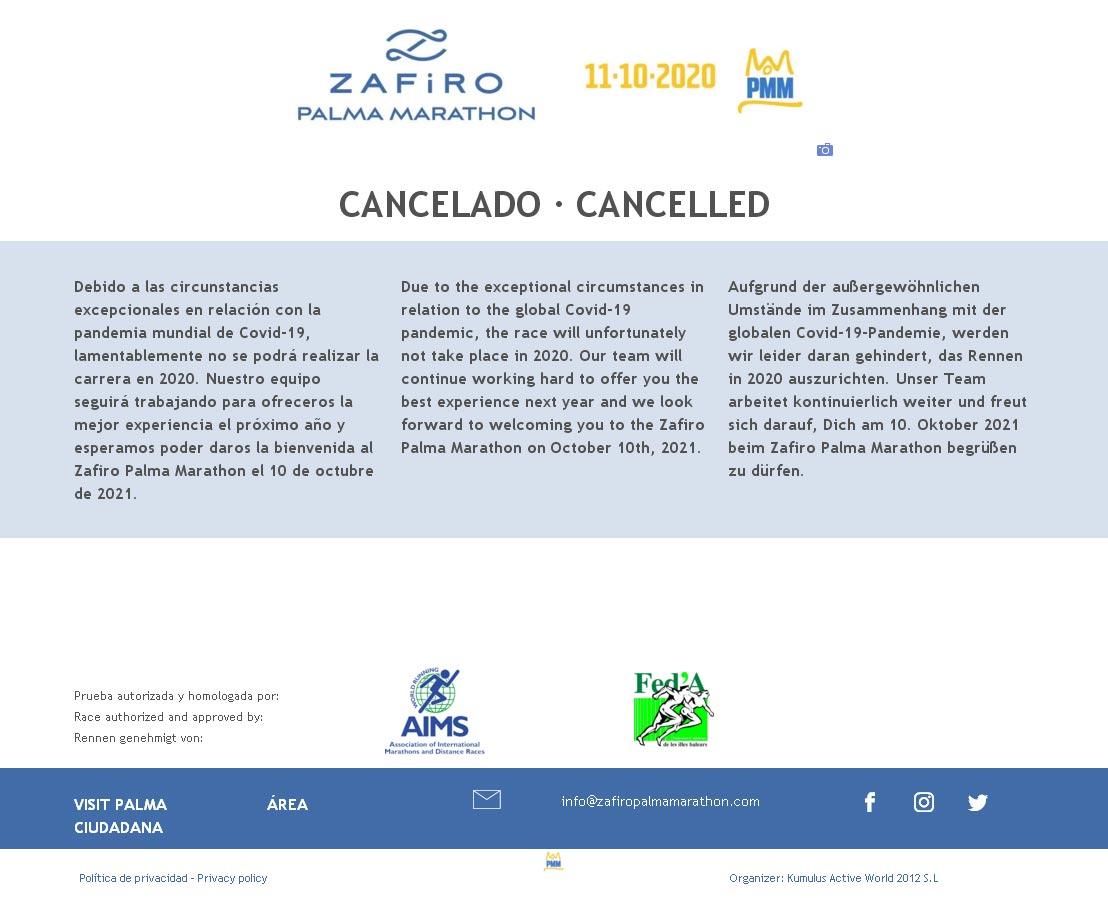 Zafiro Palma Marathon 2020 abgesagt