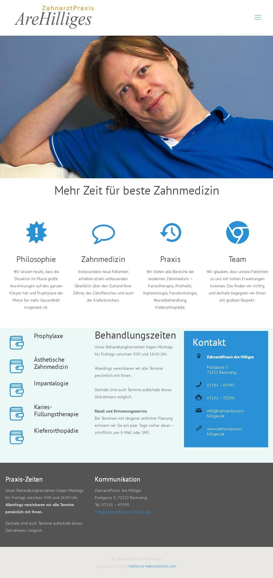 Kunde: ZA Are Hilliges Entwicklung der CI, Grafik & Layout für Online & Printwerbung www.zahnarztpraxis-hilliges.com