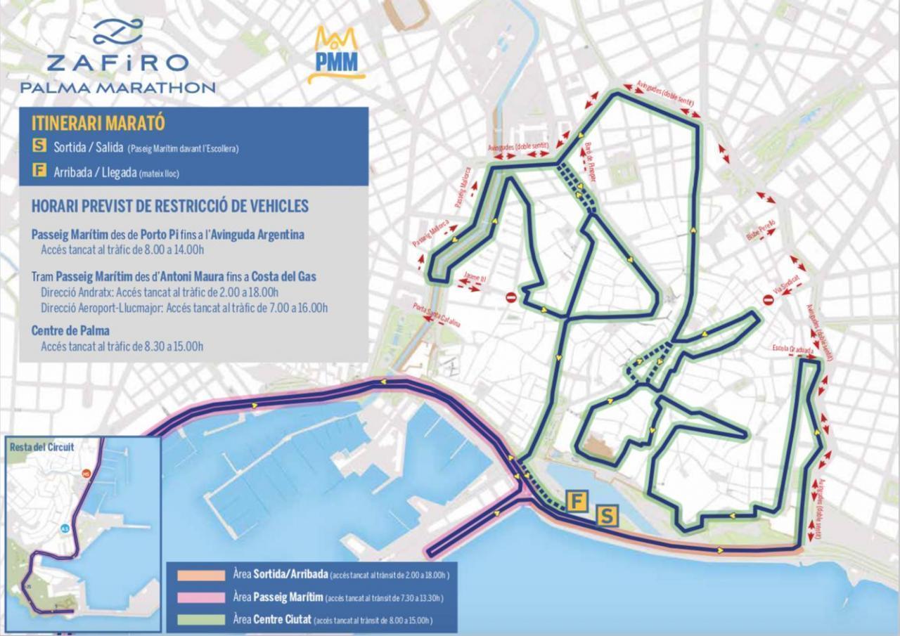 Zafiro Palma Marathon - Palma's Zentrum für den Verkehr gesperrt