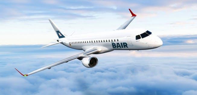 Flieger in den Farben von Flybair: Außen Bern, innen German Airways