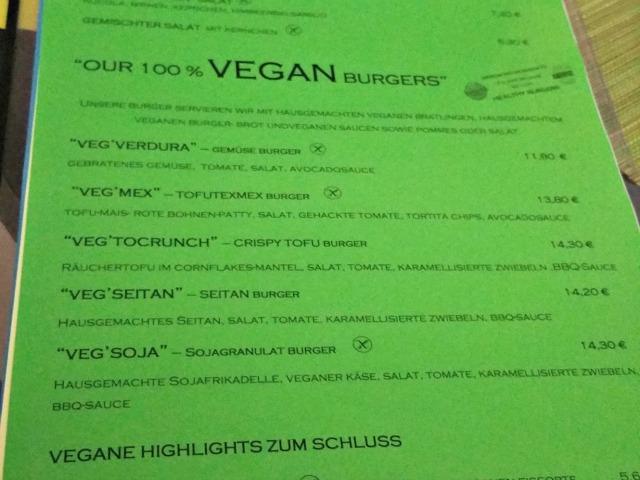 Speisekarte - auch vegan auf Mallorca kein Problem