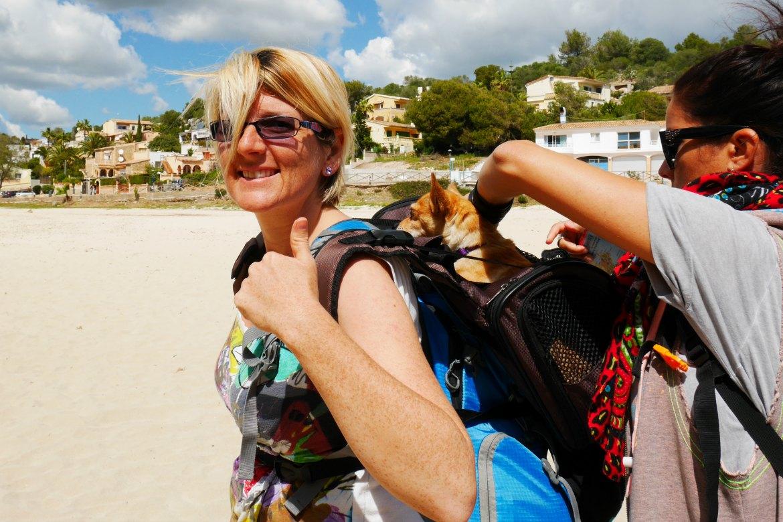 Elfie einpacken Wandern mit Hund an der Cala Romantica