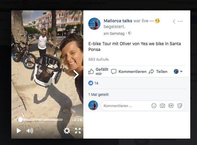 Facebook Live Mallorcatalks Testtour E-Bikes auf Mallorca