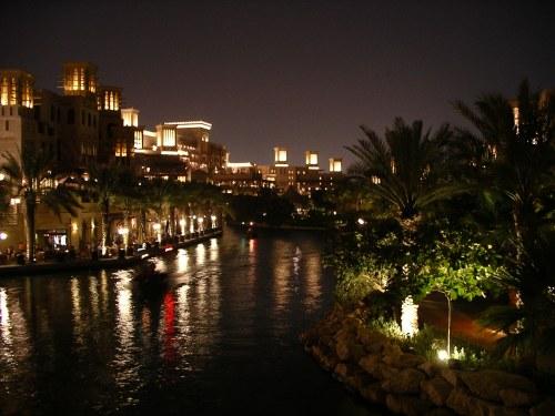 Waterway at the Madinat Jumeirah by night