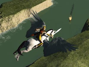 Valkyrie on winged horse flying over fiord where a Viking longboat burns as a dead hero funeral pyre