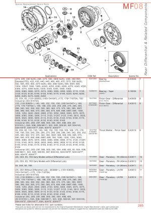 Massey Ferguson Rear Axle (Page 295) | Sparex Parts Lists