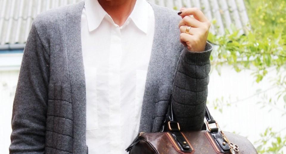 hvid skjorte uld cardigan