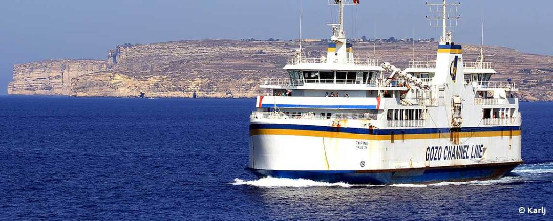 Getting an airport transfer from Malta to Gozo takes a short ferry ride.