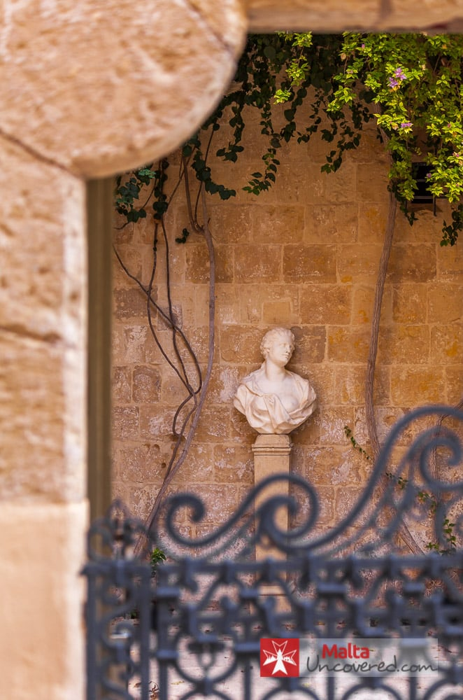 Bust in Palazzo Falson courtyard.