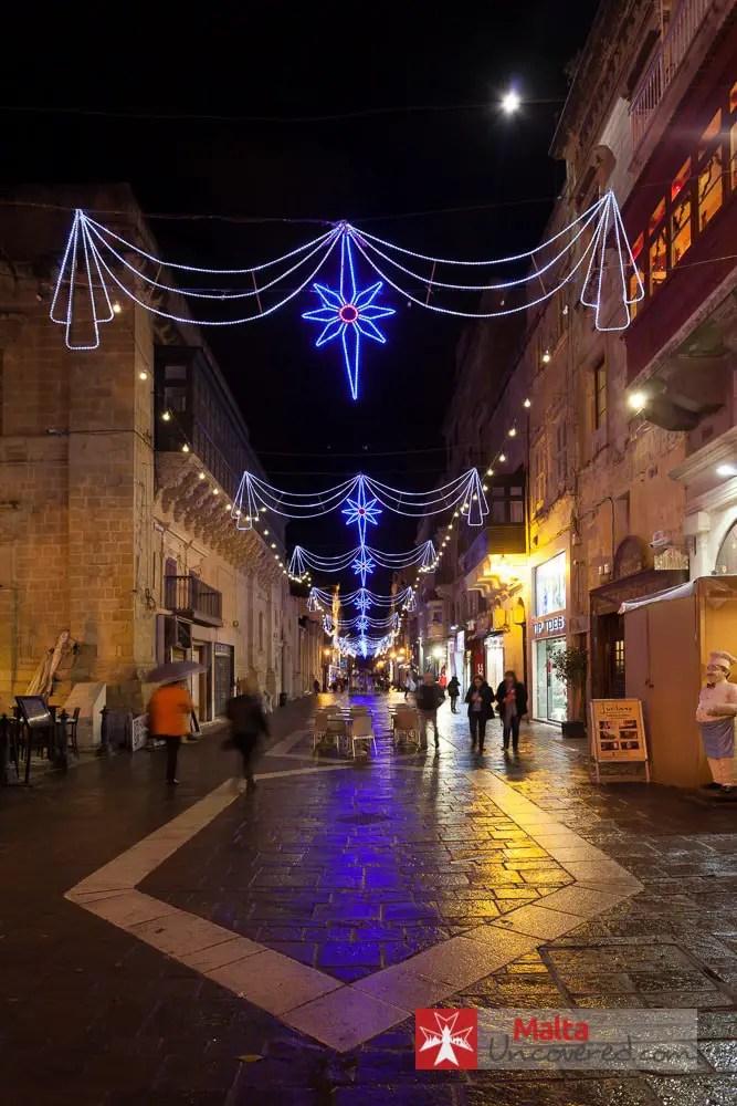 Christmas lights in Merchants Street, Valletta