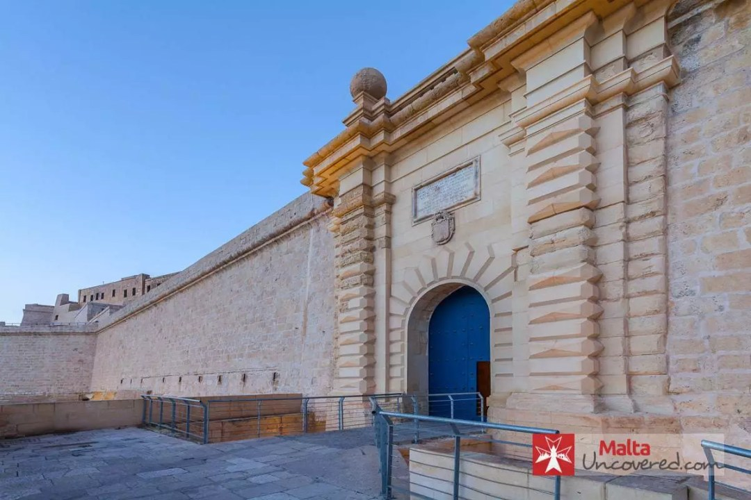 The main gate of Fort St. Angelo, at the far end of the Birgu waterfront.