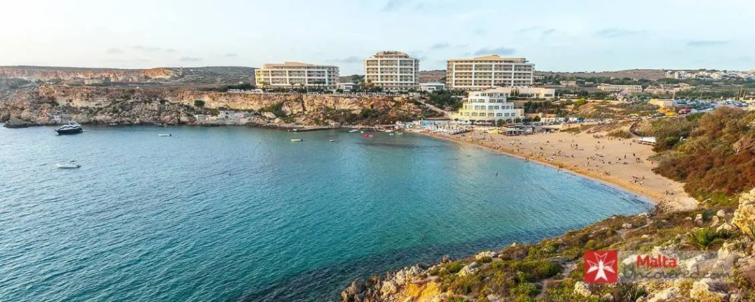 Golden Bay is a sandy beach on the west coast of Malta.