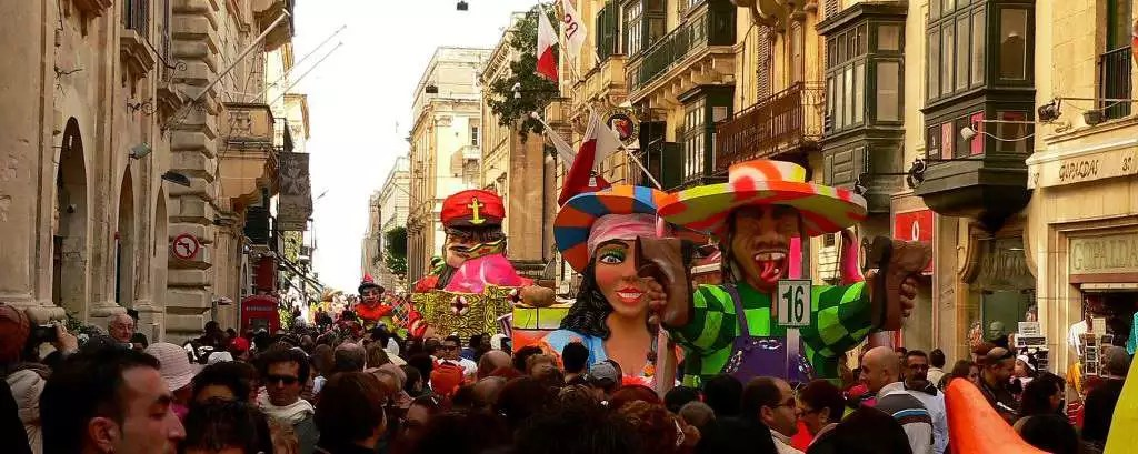 Carnival celebrations with floats in Republic Street, Valletta.