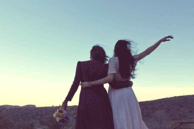 a couple in love made up by two young women