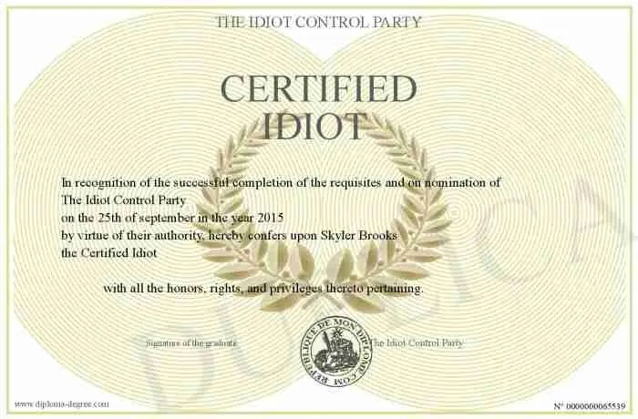 THE CERTIFIED IDIOT