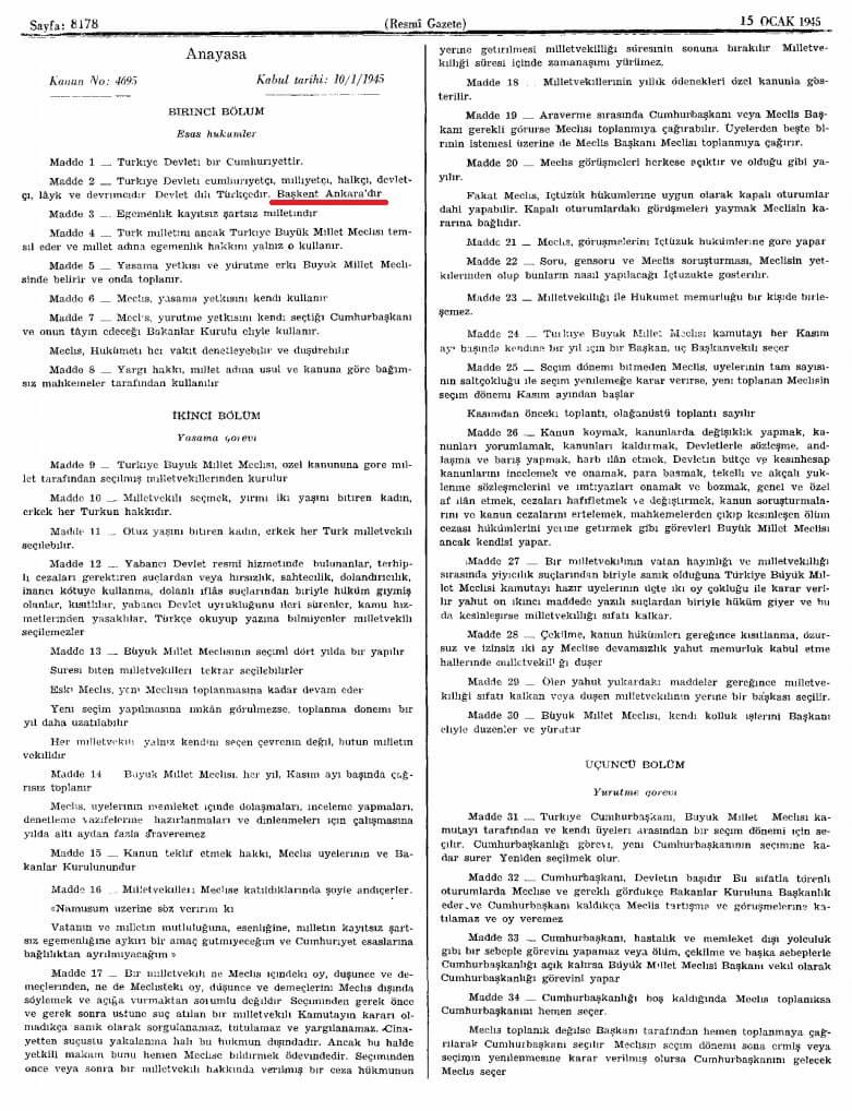 1924 anayasası 15 ocak 1945
