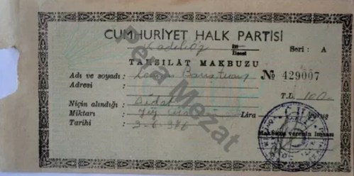 429007 nolu boş CHP tahsilat makbuzu
