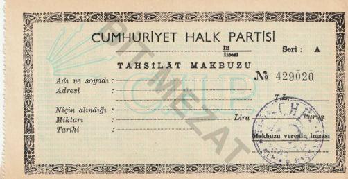 429020 nolu boş CHP tahsilat makbuzu