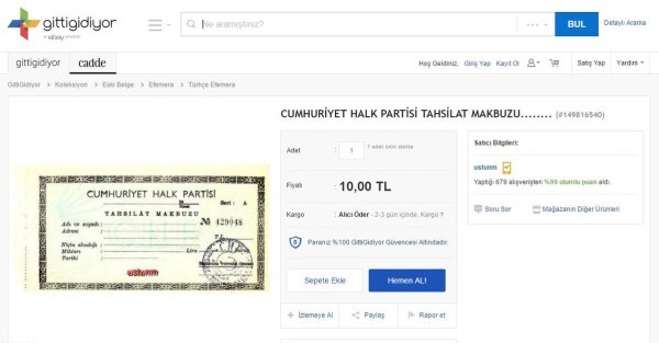 429048 seri nolu boş CHP tahsilat makbuzunun satışının yapıldığı sayfanın ekran görüntüsü