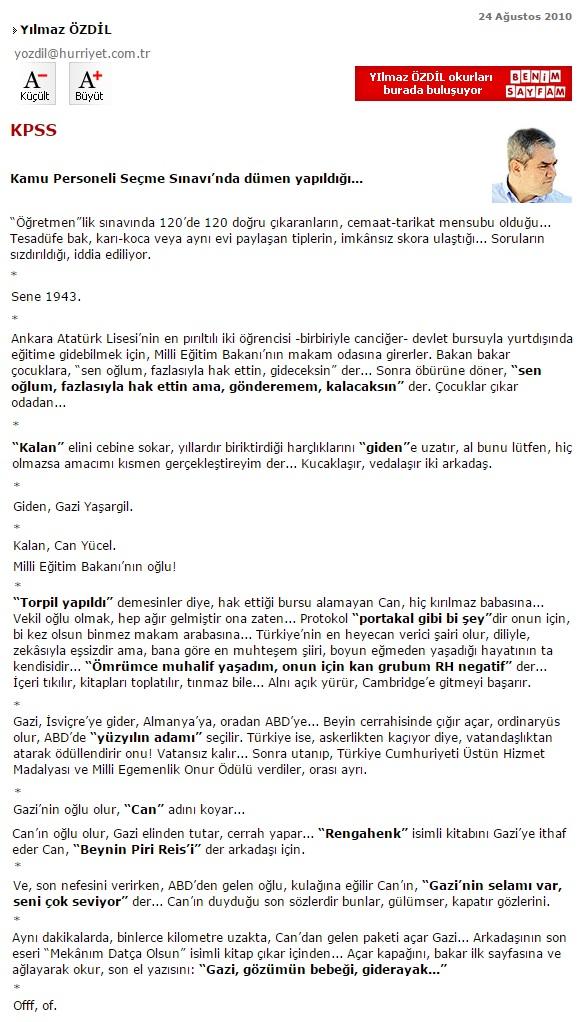 """Can Yücel ile Gazi Yaşargil'in """"Burs"""" Hikayesi Hakkında Köşe Yazısı"""