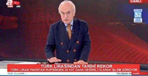 """A Haber'in alt bandının """"Türk Lirasından tarihi rekor - Türk Lirası Pakistan Rupisi'nden 25 kat daha değerli olarak işlem görüyor"""" şeklinde montajlandığı görsel"""