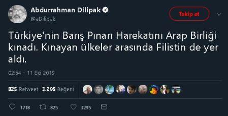 Abdurrahman Dilipak'ın Filistin'in Barış Pınarı Harekâtını kınadığı iddiasına yer verdiği tweeti