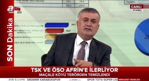 """A Haber'in Adil Gür'ün yorumu esnasında verilen """"TSK ve ÖSO Afrin'e İlerliyor"""" alt bandı"""