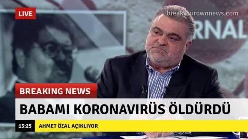 """Ahmet Özal'ın """"Babamı X Öldürdü"""" çıkışlarına mizahi bir yaklaşımla oluşturulmuş """"Babamı koronavirüs öldürdü"""" alt bantlı görsel"""