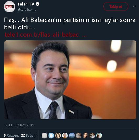 """Ali Babacan'ın kuracağı yeni partinin adının """"Akıl ve Bilim Partisi"""" olacağı iddiasını içeren paylaşım"""
