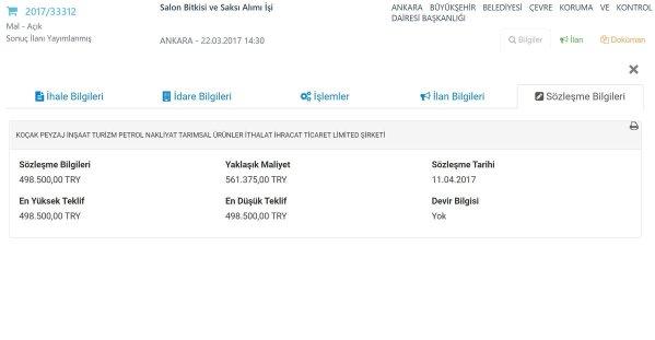 Ankara Büyükşehir Belediyesi'nin 2017/33312 nolu ihalesinin sözleşme tutarı 498.500 TL olarak belirlenmiş