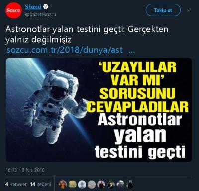 Astronotların UFO gördüklerine dair yalan testini geçtiğine dair iddiayı içeren haber tweeti