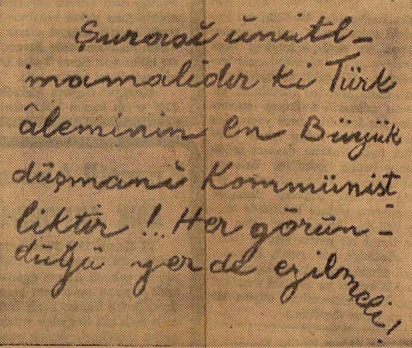 Atatürk'e Ait Olduğu ve Komünistlik Hakkında Görüşünü Beyan Ettiği İddia Edilen El Yazısı