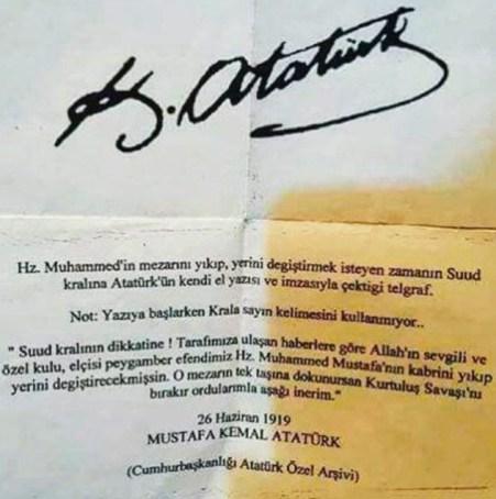 Atatürk'ün Suudi Kralına yazdığı iddia edilen mektup olduğu iddiasıyla paylaşılan görsel
