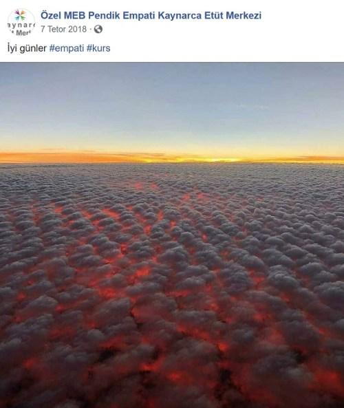 Avustralya'daki yangınların üzerindeki bulutlara ait sanılan görüntüyü daha önceden aktaran bir paylaşım