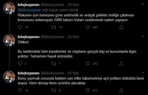 Bağcılardaki taksi durağında sıfırın tek sayı - çift sayı olduğuna dair kavga edildiğini iddia eden şahsın, paylaşımının hayal ürünü olduğunu dile getirdiği tweet