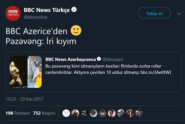 BBB Türkçe'nin BBC News Azerbaycanca'nın bir haberine yorumu