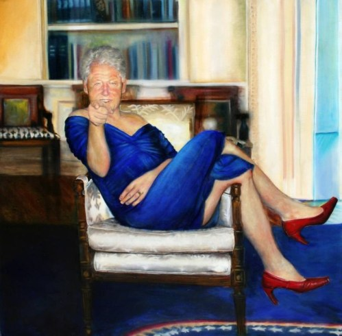 """Bill Clinton'a ait fotoğraf sanılan; ancak, Petrina Ryan-Kleid adlı sanatçı tarafından resmedilen """"Parsing Bill"""" adlı tablo"""